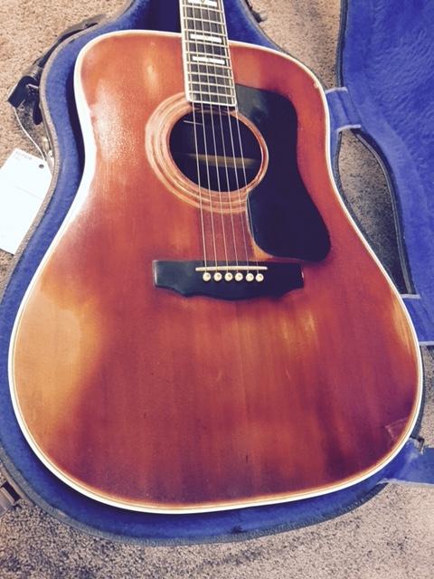 Guitar top before restoration